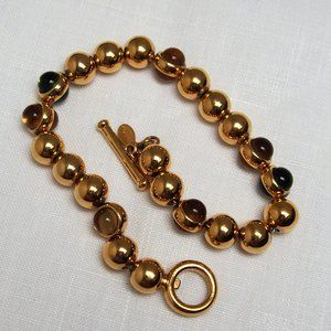 Tasteful Monet Gold & Cabochon Beaded Bracelet
